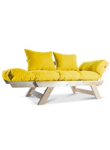 Dekoro Kombin Wood Ahşap Iki Kişilik Kanepe, Bahçe Kanepesi, Yataklı Kanepe (Naturel/Sarı) Sarı
